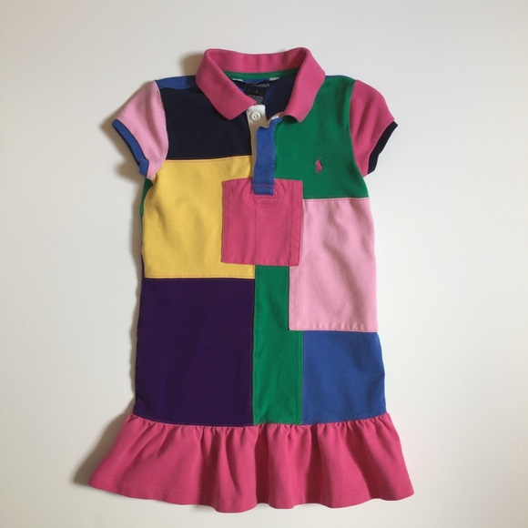 61fe5b1af2 Ralph Lauren Patchwork Polo Shirt Dress Girls 6
